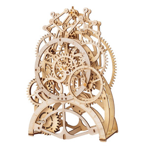 Wooden Gear Driven Pendulum Clock Model Kit - Go Steampunk