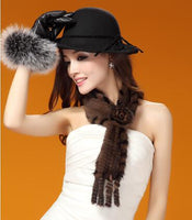 Fashion Knitted Mink Fur Scarf With Flower Brown and Black Side - Go Steampunk