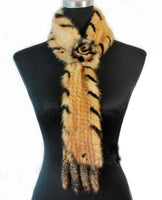 Fashion Knitted Mink Fur Scarf With Flower Golden with Black Side - Go Steampunk
