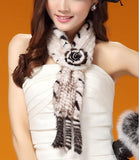 Fashion Knitted Mink Fur Scarf With Flower White and Black Side - Go Steampunk