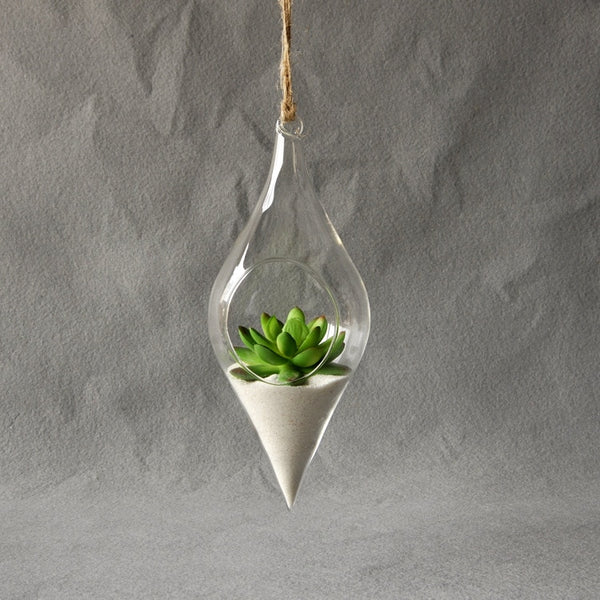 Double Tear Drop Hanging Hydroponic Friendly Terrarium Default Title - Go Steampunk