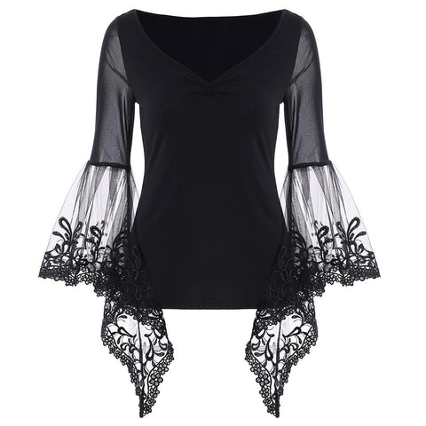 Flare Bell Sleeve Sheer Lace Blouse