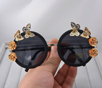Vintage Retro Sunglasses Golden Frame Baroque gold Butterfly Flower Sunglasses black 5 - Go Steampunk