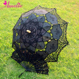 Western Style Beautiful Double-Layer Lace Parasol A0101 black - Go Steampunk