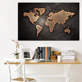 3D World Map Print On Canvas - Go Steampunk