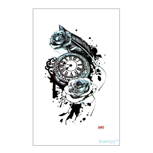 Pocket Watch and Roses Waterproof Temporary Tattoo Default Title - Go Steampunk
