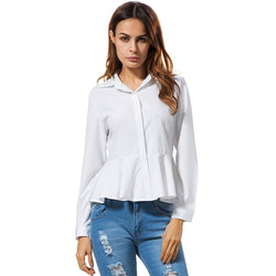 Peplum Collar Long Sleeve Shirt With Flare