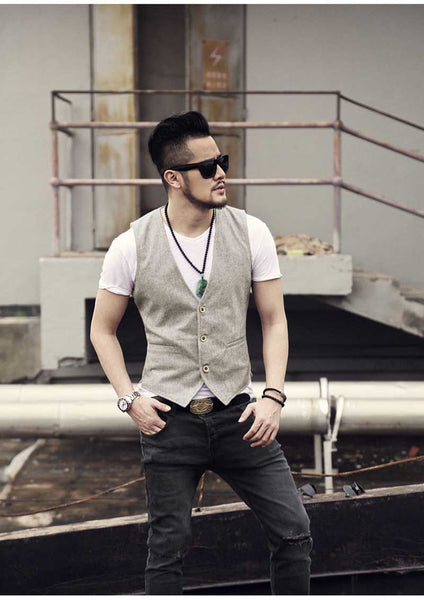 Single breasted cotton linen casual vest Beige White / S - Go Steampunk