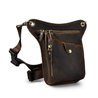 Real Leather Cowhide Vintage Waist Pack Leg Drop Bag - Go Steampunk