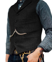 Tweed Slim Fit Gentleman's Waistcoat black / 4XL - Go Steampunk