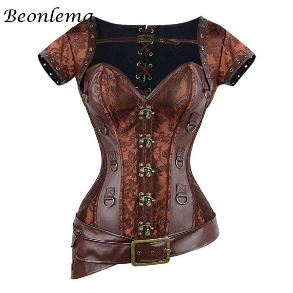 Steampunk Spiral Steel Boned Brown Leather Bustier with Jacket halter - Go Steampunk