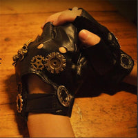 Steampunk Gear PU Unisex Gloves Default Title - Go Steampunk