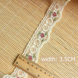 1.5 meters Colored Flower Lace 3.5cm-red / 1.5 meters price - Go Steampunk