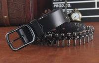 Genuine Leather Bullet Belt - Go Steampunk