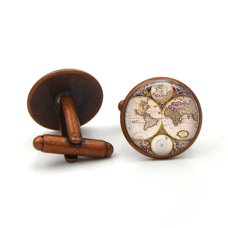Ancient World Map Cufflinks - Go Steampunk
