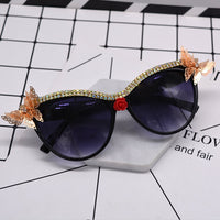 Vintage Retro Sunglasses Golden Frame Baroque gold Butterfly Flower Sunglasses black 4 - Go Steampunk