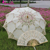 Western Style Beautiful Double-Layer Lace Parasol A0184 beige - Go Steampunk