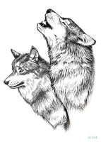 Wolf In Trees Temporary Tattoo LC-614 - Go Steampunk