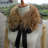 Real Raccoon Fur Collar with Ribbon