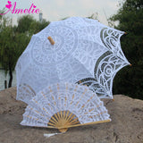 Western Style Beautiful Double-Layer Lace Parasol A0102 white - Go Steampunk