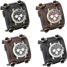 Load image into Gallery viewer, Wide Strap Leather Tachymetre Quartz Watch - Go Steampunk