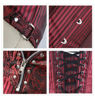 Steampunk Brocade and Stripes Corset with Zipper and Rivets - Go Steampunk