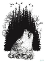 Wolf In Trees Temporary Tattoo LC-610 - Go Steampunk