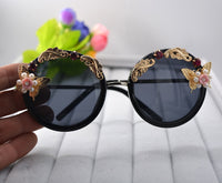 Vintage Retro Sunglasses Golden Frame Baroque gold Butterfly Flower Sunglasses black 2 - Go Steampunk