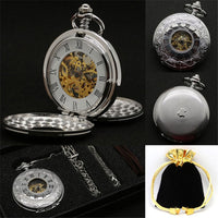 Black Full Steel Hand Winding Mechanical Steampunk Spider Web Case Skeleton Pocket Watch Silver Roman Numeral - Go Steampunk