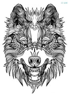 Wolf In Trees Temporary Tattoo LC-608 - Go Steampunk