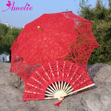 Western Style Beautiful Double-Layer Lace Parasol A0104 red - Go Steampunk