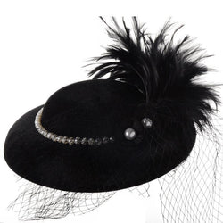 Vintage Pearl and Feather Hat