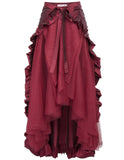 Steampunk Victorian Chartreuse Flounce Bustle Wrap (Can be worn as Cape also) Wine / One Size - Go Steampunk