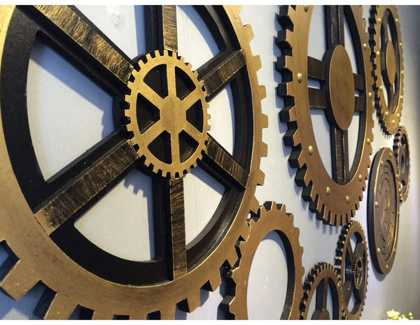 Wooden Wheel Gear Design Wall Decorations