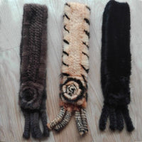 Fashion Knitted Mink Fur Scarf With Flower - Go Steampunk