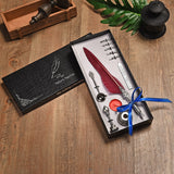 Vintage Feather Quill Fountain Dip Pen With 5 Nibs and a Wax Seal Kit Boxed Set - Go Steampunk