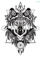 Wolf In Trees Temporary Tattoo LC-609 - Go Steampunk