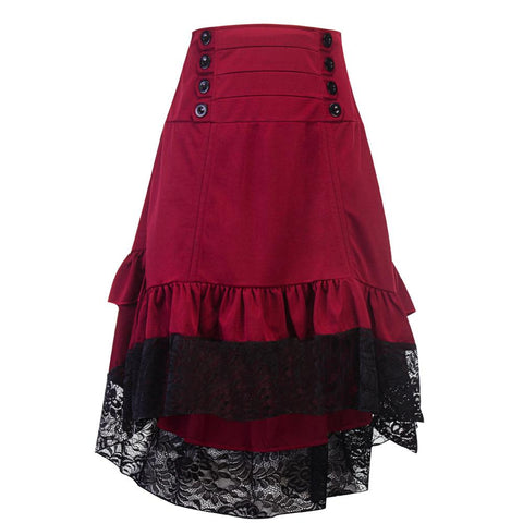 Gothic Ruffled Lace Steampunk Skirt