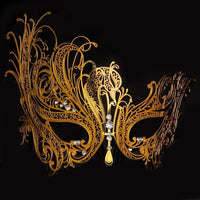 Metal Masquerade Mask with Rhinestones - Go Steampunk