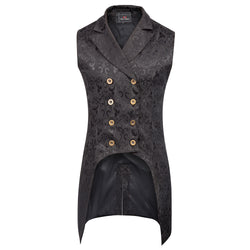 Steampunk Vogue Double-Breasted Jacquard Tail Vest - Go Steampunk