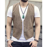 Single breasted cotton linen casual vest Light Coffee / S - Go Steampunk