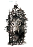 Wolf In Trees Temporary Tattoo LC-574 - Go Steampunk
