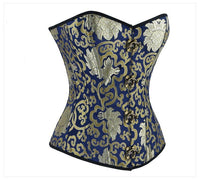 Women's Plus Size Retro Brocade Steel Boned Overbust Corset - Go Steampunk