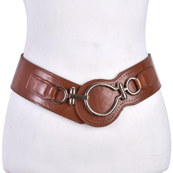 Wide Leather Big Hoop Buckle Elastic Belt