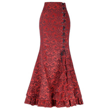 Load image into Gallery viewer, Steampunk Long Brocade Trumpet Skirt Red / L - Go Steampunk