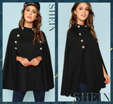 Double Button Mock Cloak Coat