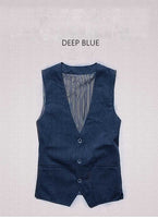 Single breasted cotton linen casual vest Deep Blue / S - Go Steampunk