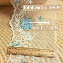 Load image into Gallery viewer, 1.5 meters Colored Flower Lace 18cm-blue / 1.5 meters price - Go Steampunk