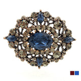 Vintage Victorian Filigree and Blue Oval Brooche - Go Steampunk