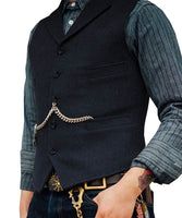 Tweed Slim Fit Gentleman's Waistcoat navy / 4XL - Go Steampunk